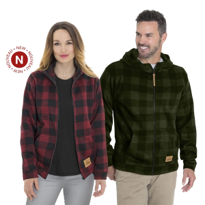 Initial Unisex Plaid Hooded Canada Full Zip Jacket