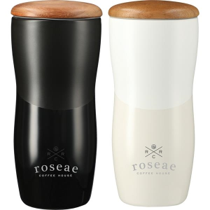 Reno Double Wall Ceramic Tumbler With Wood Lid 10oz